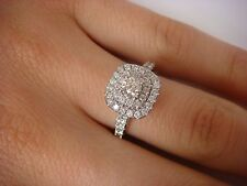 !GORGEOUS 1 CT T.W. DOUBLE HALO DIAMOND LADIES RING 14K WHITE GOLD SIZE 6.5