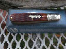 RR740 Rough Rider Pocket Knife one blade barlow w/ Amber Jigged bone Handles (D)