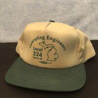 Vintage Tan / Green Engineers 324 Trucker Hat. Snapback Cap Made in USA. NOS