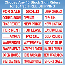 Real Estate Sign Riders - 10 Signs - 2 Sided - Outdoor NEW- FREE SHIPPING! Red