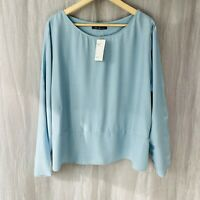 *BNWT* M&S Blue SIZE 20 UK Long Sleeve Boxy Flare Casual Top WO1