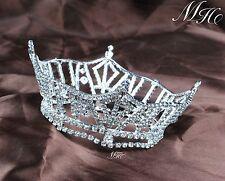 Brides Round Tiara Crown Wedding Headband Clear Rhinestones Pageant Prom Party