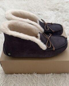 UGG Australia Alena Women's Suede MOC Toe Slippers Purple Gray US Sz 10