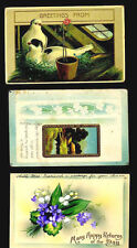 3 Antique POSTCARDS Painted 1909/1910 FLORAL Birds COUNTRY One CENT Stamps
