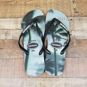 NWOT Havaianas Men Sz 13 Flip Flops Hype Blue Sunset Palm Trees Beach California