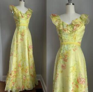 Vintage 1970's Cottagecore Poppies on Yellow Ruffled Chiffon Maxi Dress Size XS