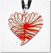 Collier pendentif cœur verre style murano bijou valentin amour