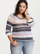 TORRID Striped Open Stitch Cinched Bottom Sweater Size 00 (M/L) NWT $55 HG47