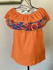Embroidered Mexican Blouse, Orange