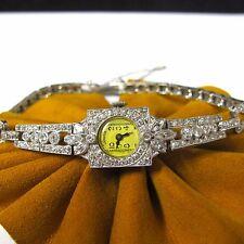 1.20 cttw DIAMONDS HAMILTON Platinum Vintage Wind Up Ladies Watch