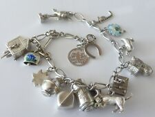 """Fine Lovely Vintage Sterling Silver Charm Bracelet With 16 Charms 8"""" 33g"""