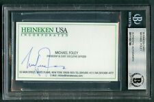 Michael Foley signed autograph auto CEO Heineken Business Card BAS Slabbed