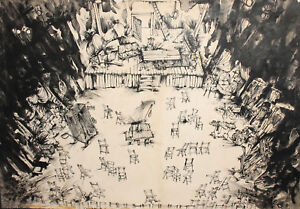 1986 Large Ink Painting theatre stage design The Threepenny Opera Signed