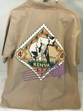 Vtg On Location Kenya Shirt Size XL USA Made Tan Brown Short Sleeve Button Down