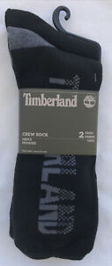 Timberland Mens Crew Black Socks Grey Socks 2 Pair Pack One Size Fits Most  New