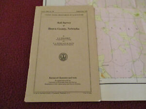 """NEBRASKA SOIL SURVEY BROWN COUNTY 1938 SOFTCOVER WITH A LARGE 53"""" X 32"""" MAP"""