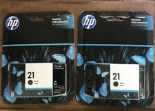 Two (2) Genuine (Expired 2019) Sealed In Box Hp 21 Black Ink Cartridge