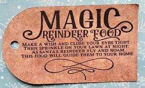 MAGIC REINDEER FOOD TAGS  - KRAFT LUGGAGE STYLE - CHRISTMAS EVE - BLACK FONT