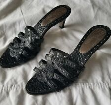 Salvatore Ferragamo Black Crocodile Kitten Heel Slide - size 8.5