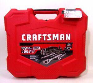 Craftsman Mechanic's Tool Set 105 Pc SAE/Metric Gunmetal Chrome Red Hard Case
