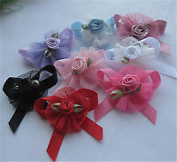 24pcs Upick Ribbon Bows Flowers Rose Appliques wedding Sewing Craft A2033
