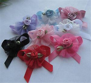 24pcs Upick Ribbon Bows Flowers Rose Appliques wedding Sewing Craft A2033