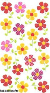 Spaß Blumen Kopie Sticko Glitter Sticker - Rot & Orange Gemustert Blumen