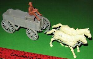 MARX VINTAGE GREY 54 MM WAGON WITH COWBOY DRIVER..........