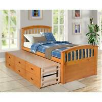 Twin Size Platform Storage Bed Solid Wood Bed with 6 Drawers For Home USA STOCK