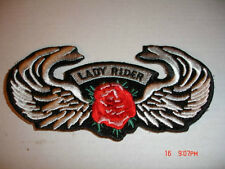 "LADY RIDER - RED ROSE & WINGS EMBROIDERED PATCH 4 1/2"" X 2"""