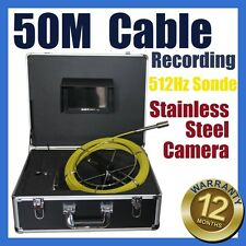 50M Snake Cable UnderWater Sewer Drain Pipe Recording Camera 512HZ Locator Sonde