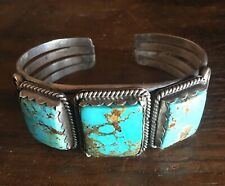 3 stone turquoise and stamped sterling silver cuff bracelet