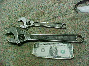"""2 Vintage Diamond Calk Horseshoe Co Adjustable Wrench 12""""& 8"""" Sold as Found"""