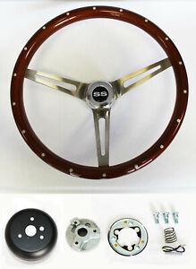 "Chevelle Camaro El Camino Nova 15"" Wood Steering Wheel Rivets High Gloss SS Cap"