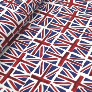 100% Cotton Fabric Union Jack Flags UK British 147cms Wide