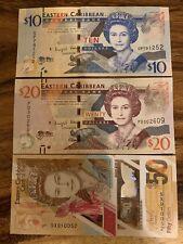 Eastern Caribbean 10 + 20 + 50 Banknotes. 80 East Caribbean Dollar Total. Cir Dt
