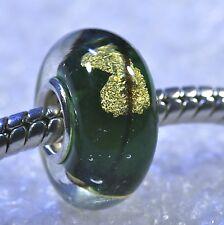 "SINGLE CORE EUROPEAN MURANO STYLE GLASS BEAD-""Green with Gold Flake"""