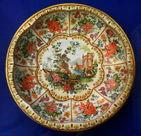 Vintage DAHER Decorated Ware Tin BOWL Serving Dish Yellow Background Decor, 1971
