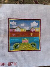 Beach Frog Prince Needlepoint Canvas & Some Threads