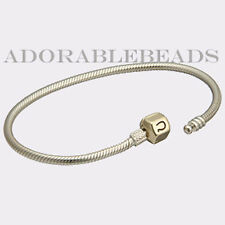 "Authentic Chamilia Silver Bracelet with 14KT Gold Lock 7.1"" CA-2"