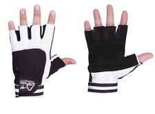 Weight Lifting Bodybuilding Gym Fitness Leather Gloves Slim Fitting Men Women White Medium