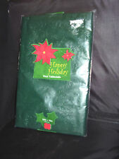 "New Deep Green embossed 52"" x 70"" Vinyl Christmas Tablecloth Rectangular Sealed"