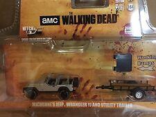 Greenlight  HITCH & TOW  Walking Dead Michonne's Jeep  w/ Utility Trailer