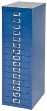 Bisley 15 multi drawer filing cabinet Blue