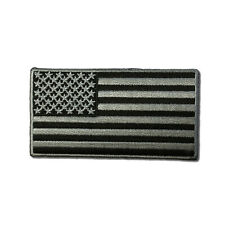"""Embroidered 3½"""" American US Flag Black & Grey Sew or Iron on Patch Biker Patch"""