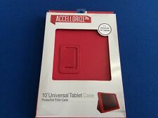 "Protective Folio Case, 10"" universal tablet case, durable, stand up view, red"