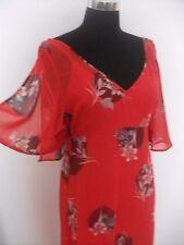 Ladies long red floral summer dress lightweight Kaftan M & S size 12 rrp £49.50