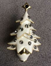 White Enamel Christmas Tree Brooch With Clear Crystals