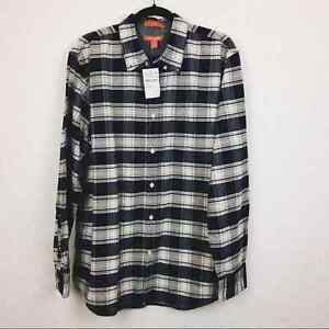NEW Joe Fresh Men's Size Large Navy/White Button Down 100% Cotton