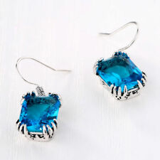 BRAND NEW Emerald-Cut LONDON BLUE TOPAZ Earrings~Sterling Silver~MIB~Gorgeous